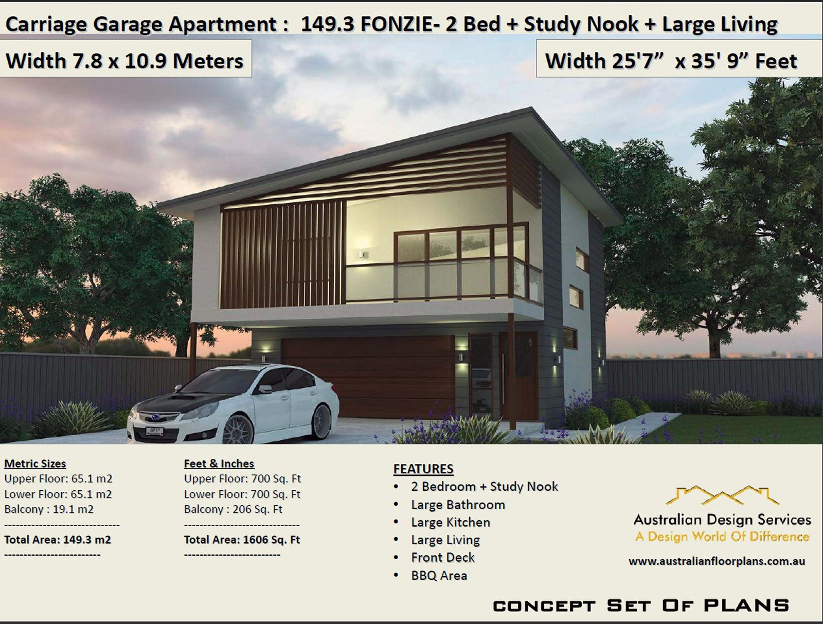 Fonzie 2 Bed Study House Plan Area 149 3 M2 1606 Sq Foot Etsy