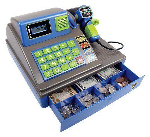 Kids Toy Cash Register W Scanner Gift Children Large Lcd Screen
