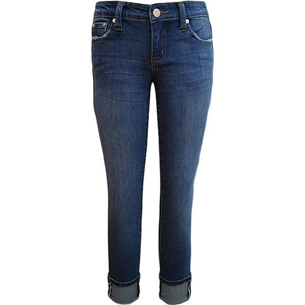 Tractr Indigo Five-Pocket Mid-Rise Crop Jeans ($38) ❤ liked on Polyvore featuring jeans, blue jeans, indigo jeans, medium rise jeans, five pocket jeans and cropped jeans