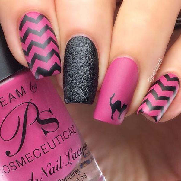 70 Shiny Square Long Nail Art Design Ideas:Pink Waves | Nail art ...