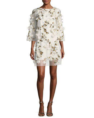 5ca797c39d8 MARCHESA NOTTE EMBELLISHED 3D FLORAL SEQUIN TUNIC COCKTAIL DRESS.   marchesanotte  cloth
