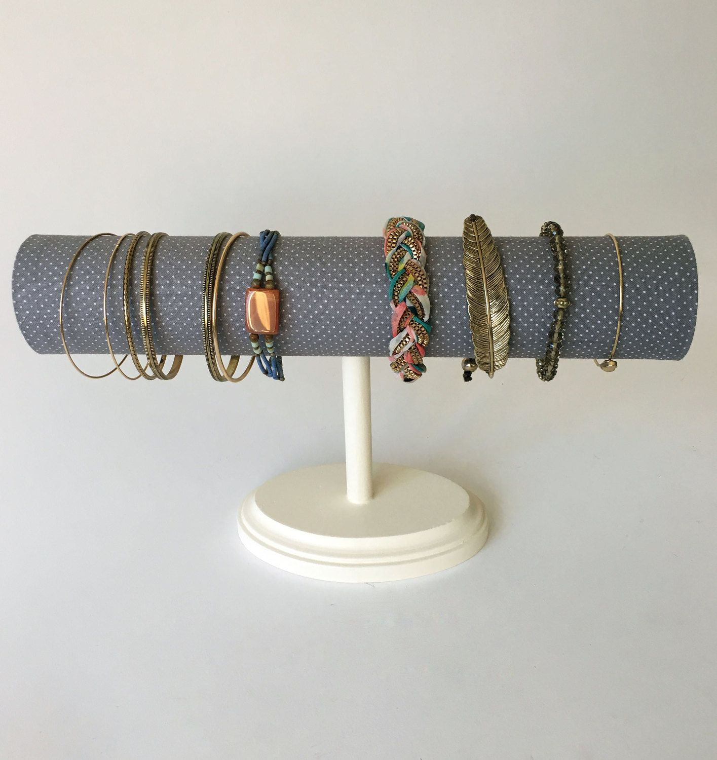 Bracelet Organizer Stand, Gray Dot, Jewelry Display, Watch Display, Watch