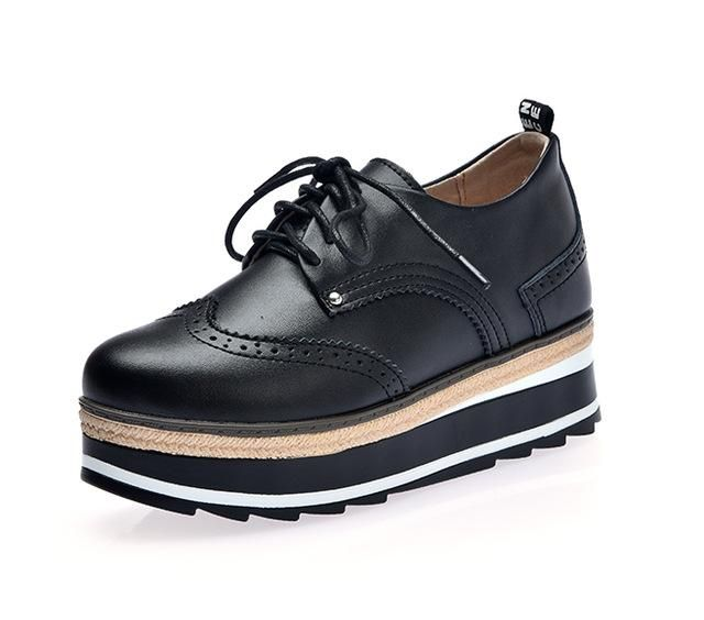 4e7d7e044bde7c Ngouxm Women s genuine Leather Oxfords platform Shoes 2018 Casual Flats  Brogue Lace Up Derby shoes Woman oxford shoes for women