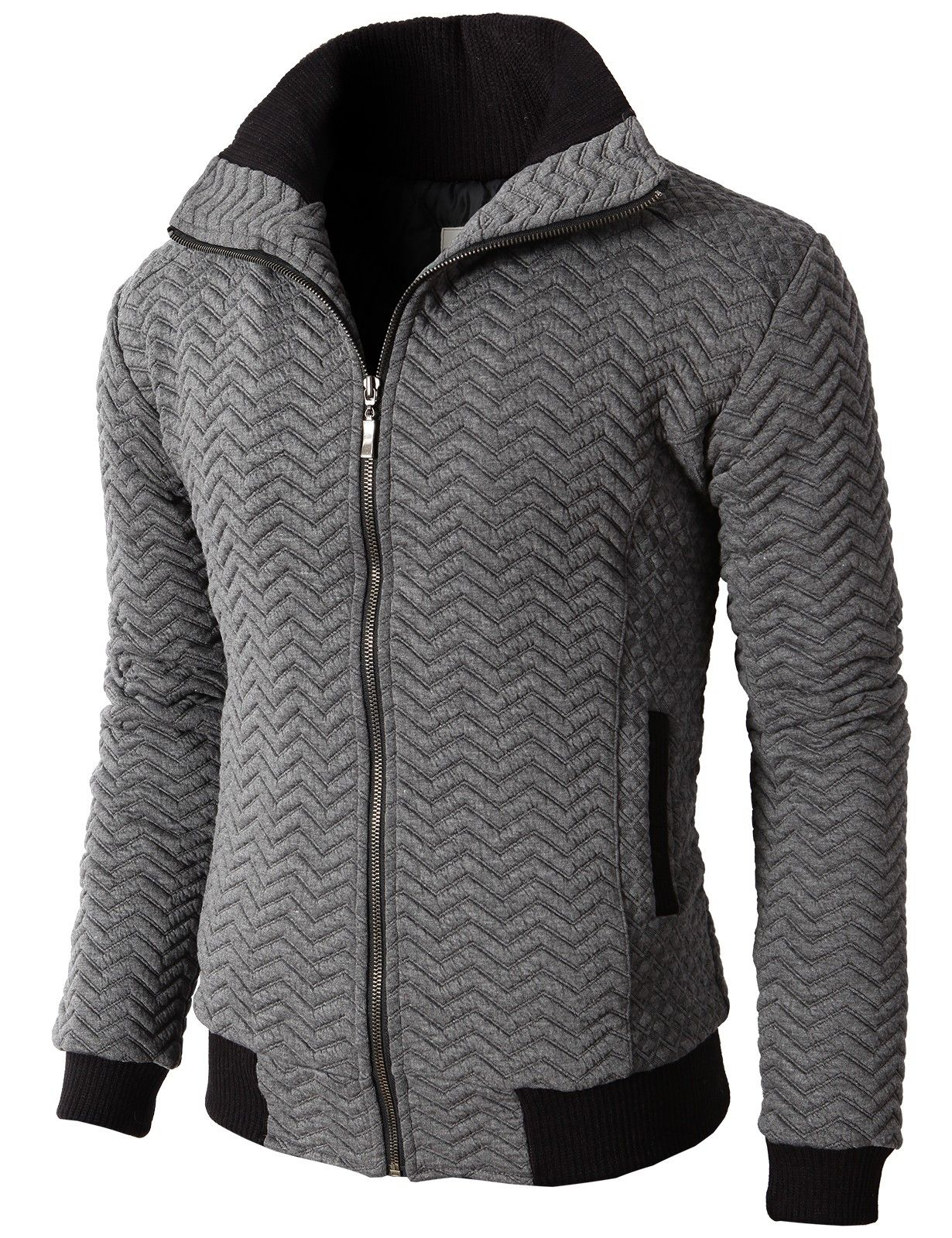 Doublju Mens Casual High Neck Zip Up Jumper With Zigzag Quilting ...