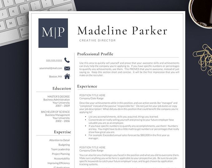 Teacher Resume Template For Word  Pages  The Katie If You Love
