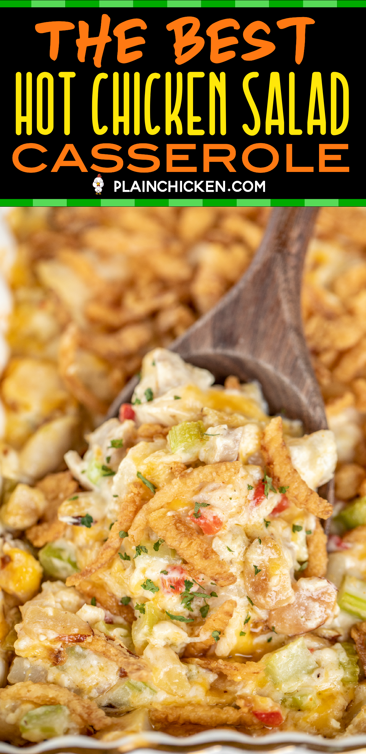 The BEST Hot Chicken Salad - seriously delicious chicken casserole!! Baked chicken salad loaded with pimentos, water chestnuts, almonds, cheese and french fried onions. Great for lunch, brunch, dinner, baby showers, potlucks and tailgating. Chicken, almonds, water chestnuts, pimentos, celery, lemon juice, mayonnaise, cheddar cheese, cream of chicken soup and french fried onions. Can make in advance and refrigerate or freeze for later. #casserole #chicken #chickencasserole #freezermeal #howtofryonions