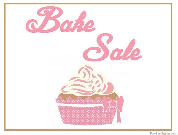 Printable Bake Sale Sign Bake sale Ideas Pinterest Bake sale - car for sale sign printable
