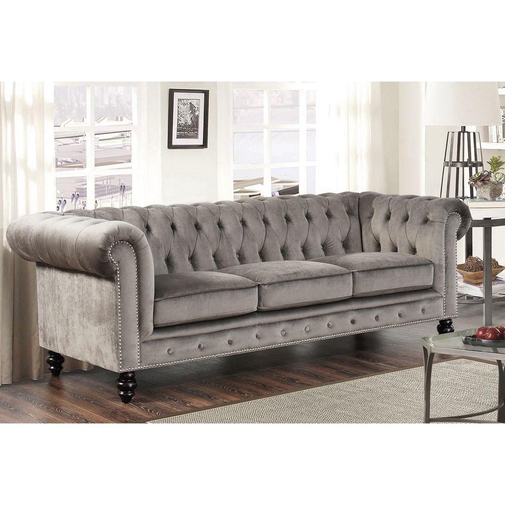 Abbyson Living Grand Chesterfield Grey Velvet Sofa (Grey) (Foam ...