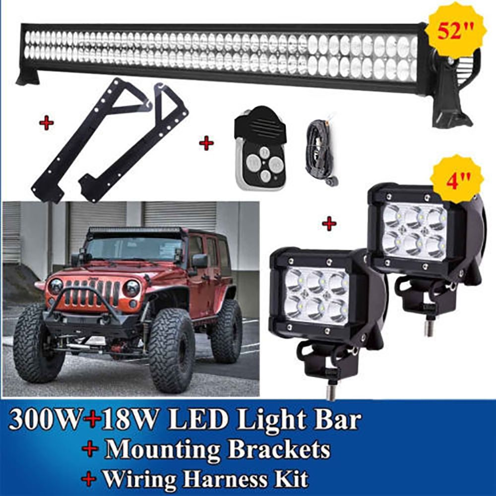 52 Inch Led Light Bar 2x 4inch Pods Mount Bracket Combo Kit For 07 Wiring Jeep Jk 52inch 300w 15