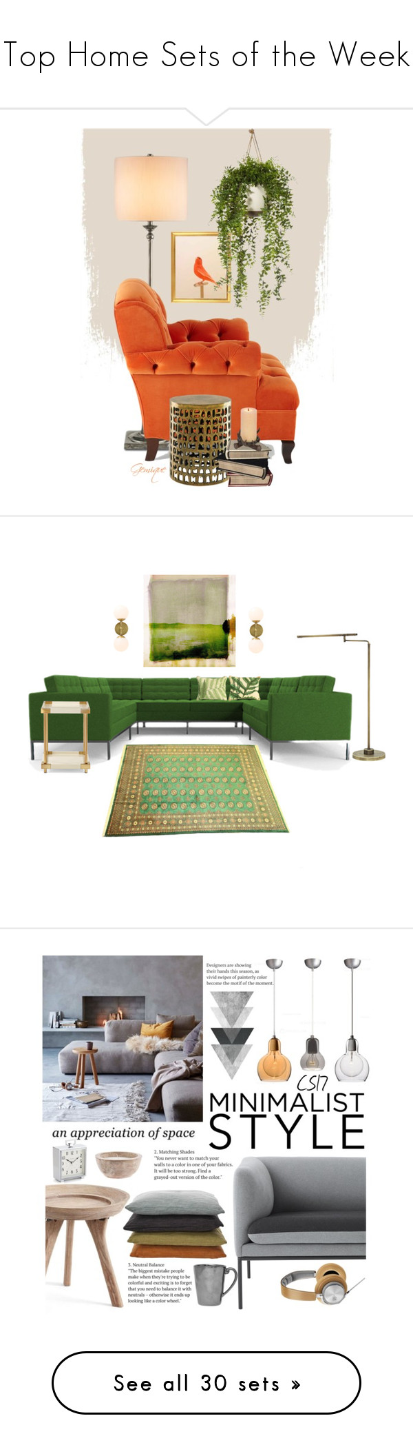 """""""Top Home Sets of the Week"""" by polyvore ❤ liked on Polyvore featuring interior, interiors, interior design, home, home decor, interior decorating, Haute House, Parvez Taj, Joybird and House of Troy"""