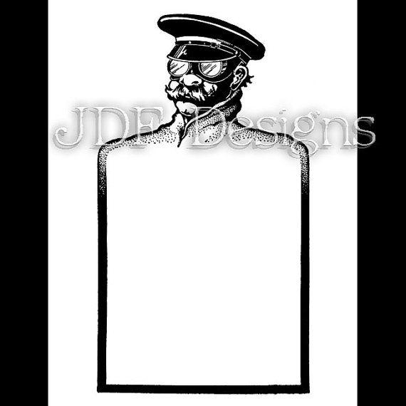 Instant Digital Download, Vintage Edwardian Era Graphic, Man with Goggles, Sky Captain Text Box Antique Printable Scrapbook, Steampunk