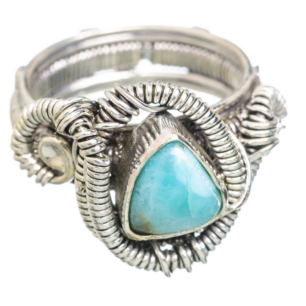 Rare Larimar 925 Sterling Silver Ring Size 7.5 RING765097