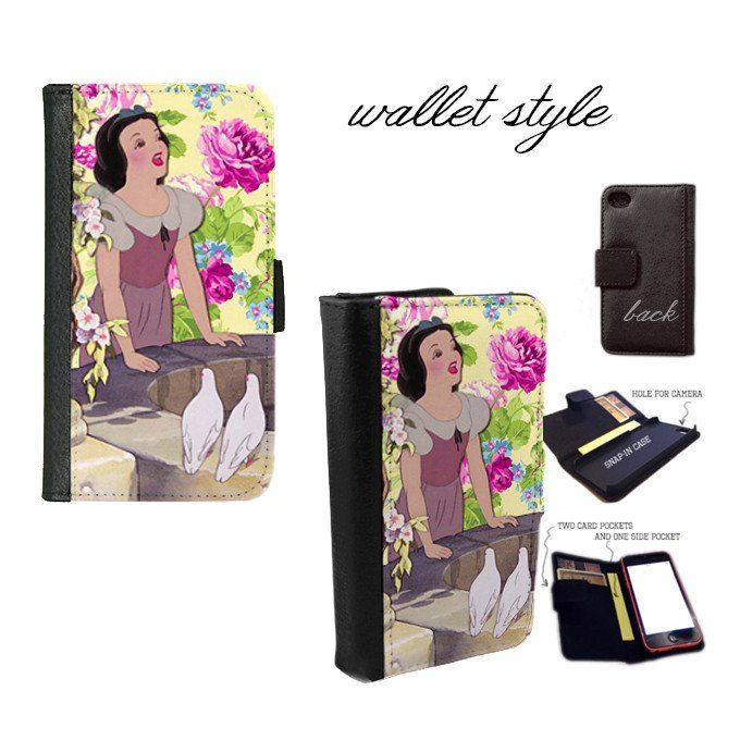 iPhone and Galaxy leather wallet case - Disney Snow White Floral