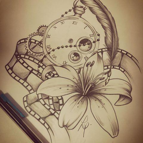 dessin montre a gousset pour tatouage | tuer auf