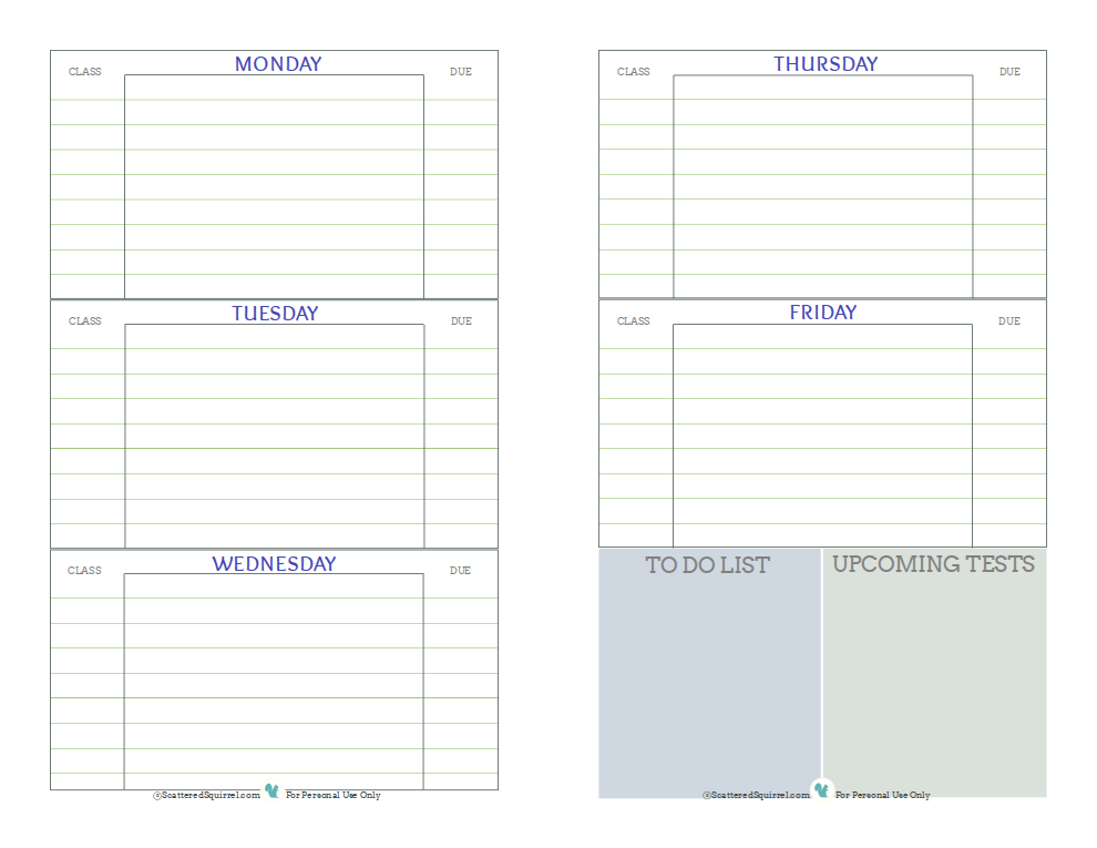 free printable student planner designed to help middle and high school students keep track of assignments up coming tests and things they