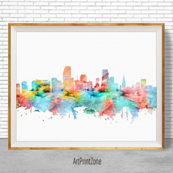 Miami florida watercolor map art print this is a watercolor fine art print giclee made