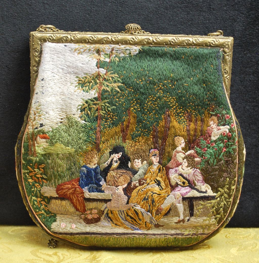 Vintage Silk Stitch Figural Needlework Purse Scenic Bag. , France c. 1920's.