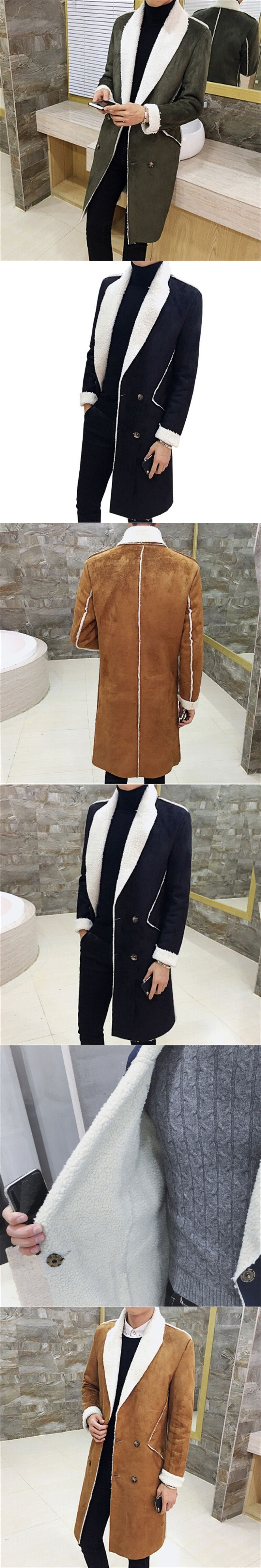 7b24bb9b9fcc 2017 Men Suede Double Breasted Coat Men Fur Collar Slim Fit Brown Green  Male Trench Coat