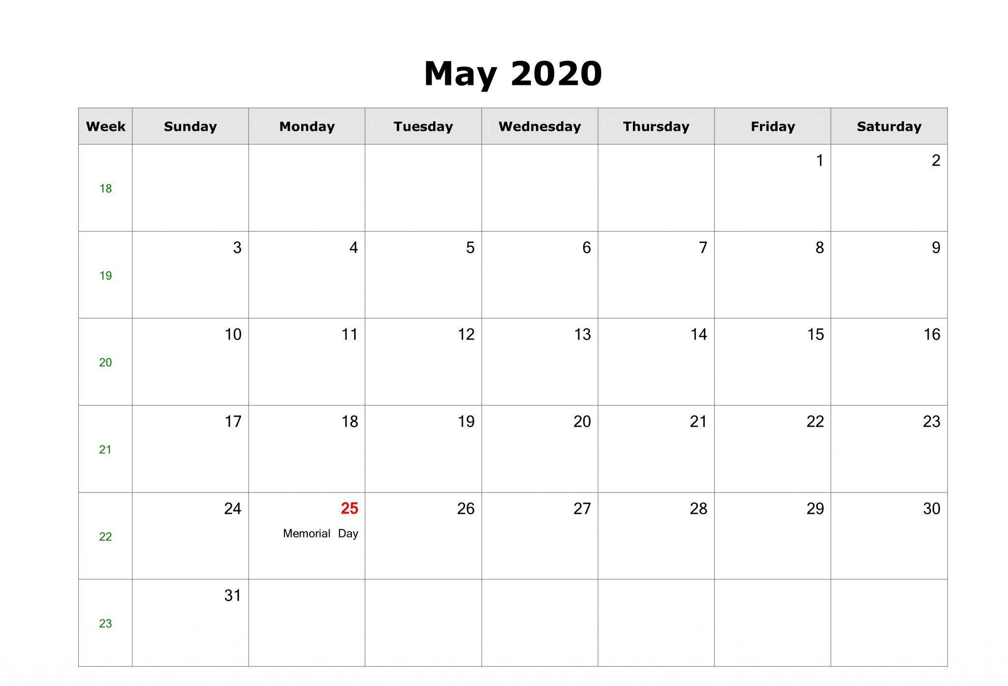 Free Fillable May 2020 Calendar Template Printable Pdf Word In 2020