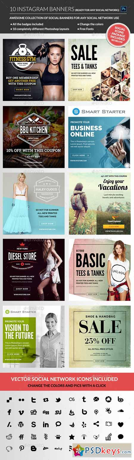 Instagram Banners Psd Pinterest Banners Social Media - Instagram ad template