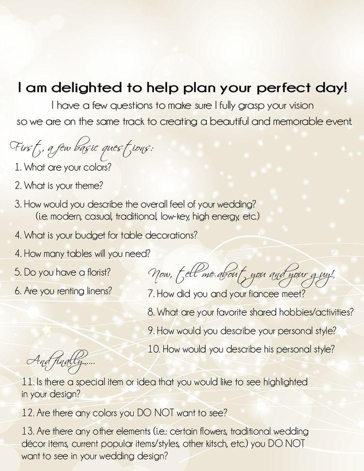 Wedding Planning Event Planning Questionnaire Consultation Wedding Planner Business Event Planning Office Wedding Event Planner