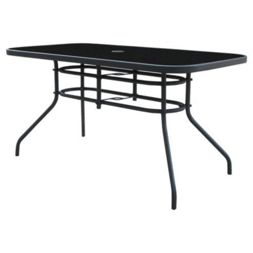Buy Seville Rectangular Glass & Steel Garden Table - Charcoal from ...