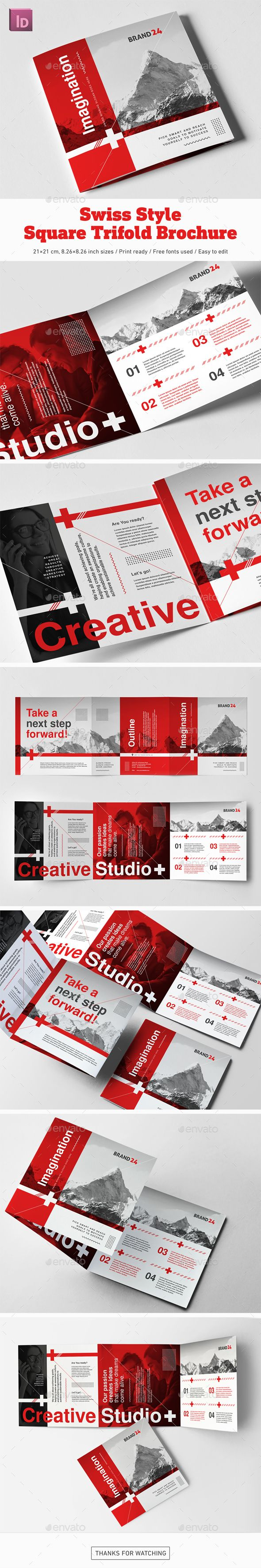 Swiss Style Square Trifold Brochure - #Corporate #Brochures Download here: https://graphicriver.net/item/swiss-style-square-trifold-brochure/20303422?ref=alena994