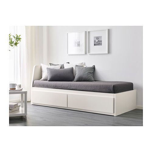 FLEKKE Day-bed w 2 drawers/2 mattresses, white, Malfors firm ...