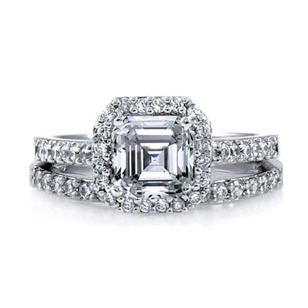 Bling Jewelry Great Gatsby Inspired Antique Style CZ Engagement Ring Wedding Set mafJkAo4D