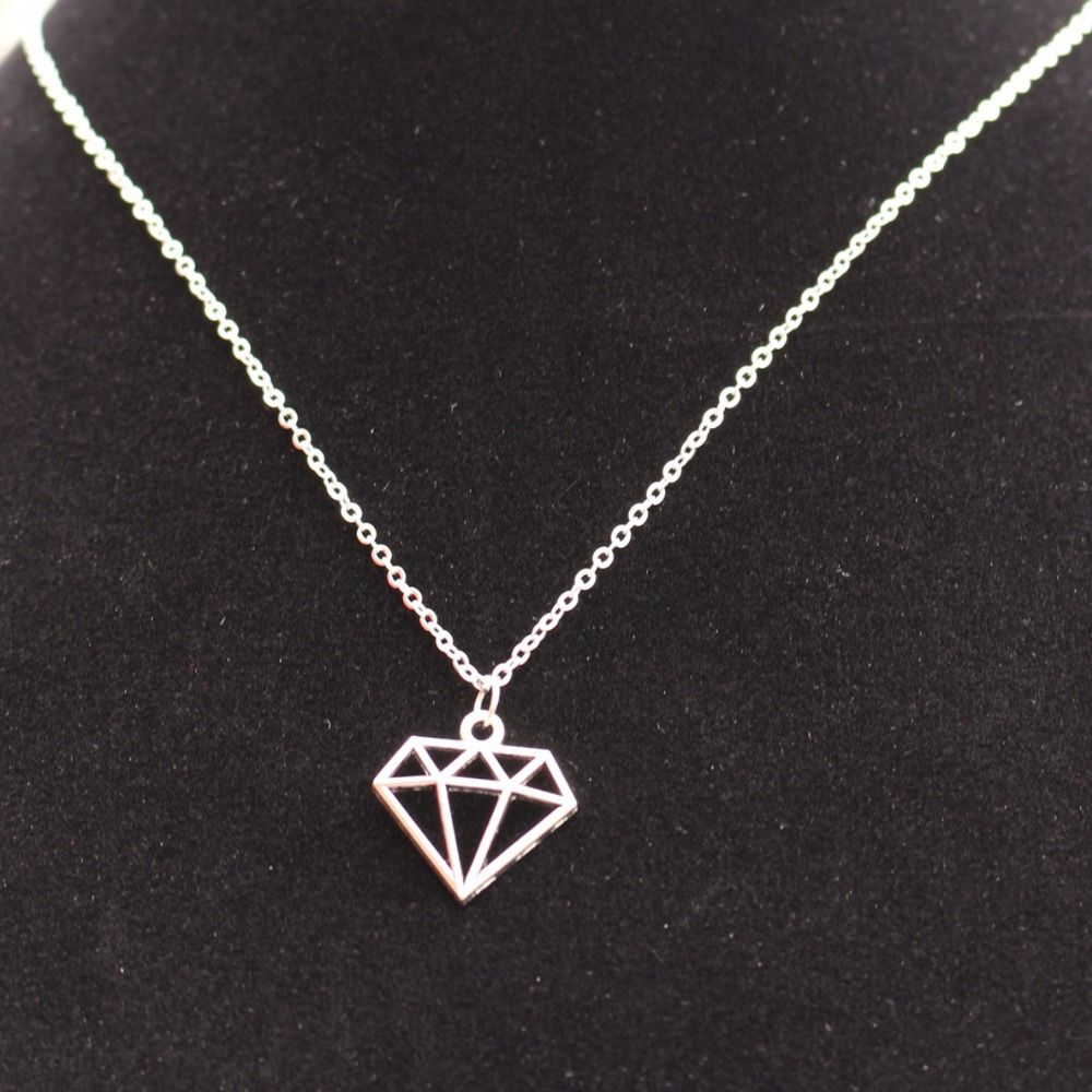 New Love Exo Vintage Silver Plated Geometric Triangle Necklace