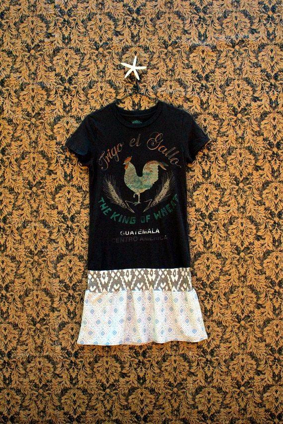 REVIVAL Upcycled Boho TShirt Dress Small to Medium