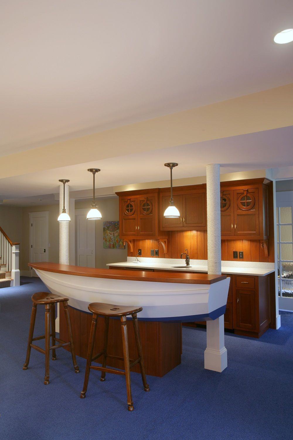 beautiful custom built nautical-themed bar area in this cape cod
