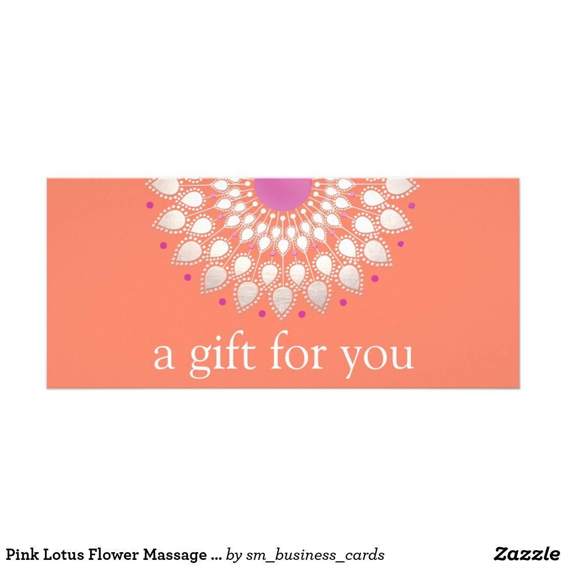 Pink Lotus Flower Massage Floral Gift Certificate Natural Medicine