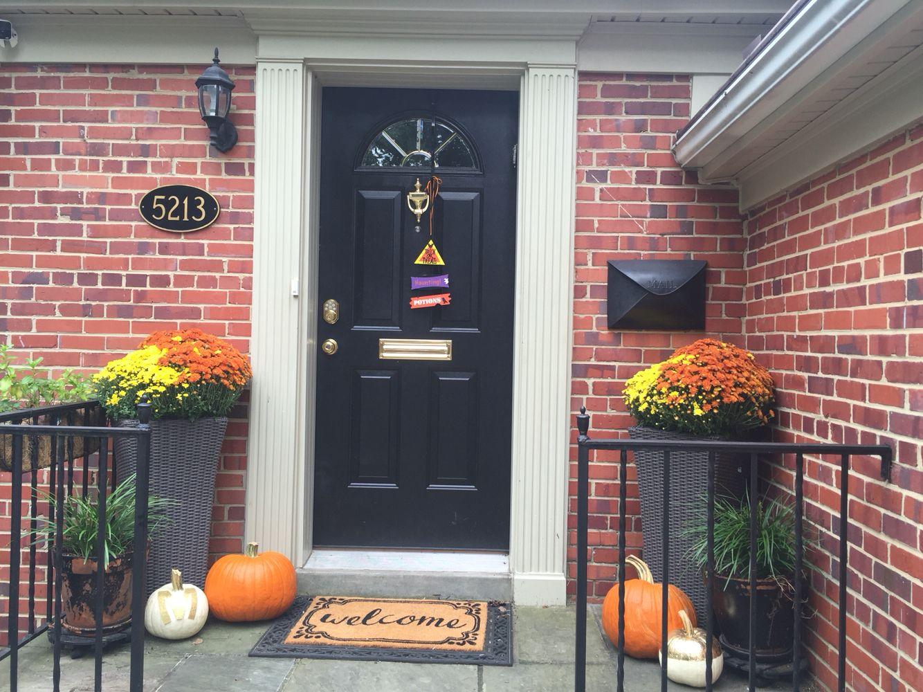 Fall Door Decor Plants- #Home Depot Glitter Monogram- #Michaels Gold - pinterest halloween door decor