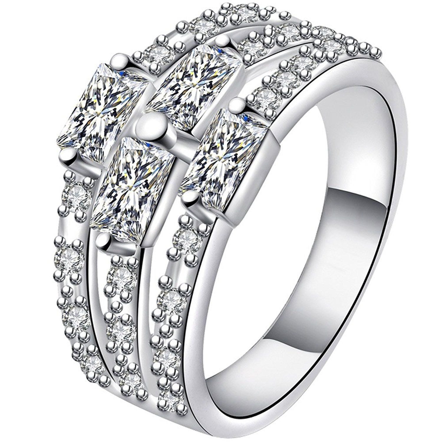 BOHG Jewelry Womens 925 Sterling Silver Plated Cubic