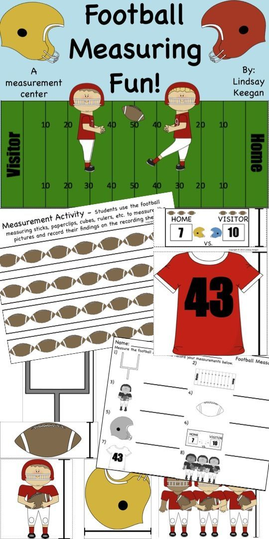 freebie football measuring math center sports theme pinterest preschool math math. Black Bedroom Furniture Sets. Home Design Ideas