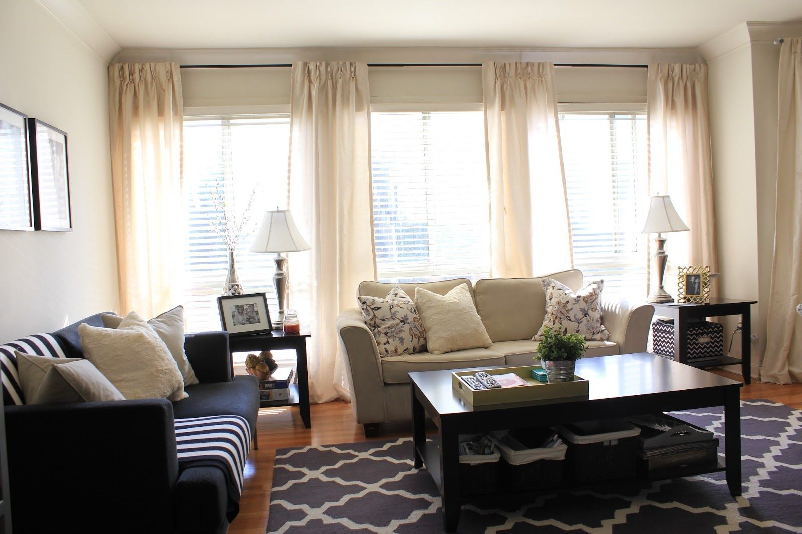 curtains for 3 windows together | ... have four panels hanging along ...