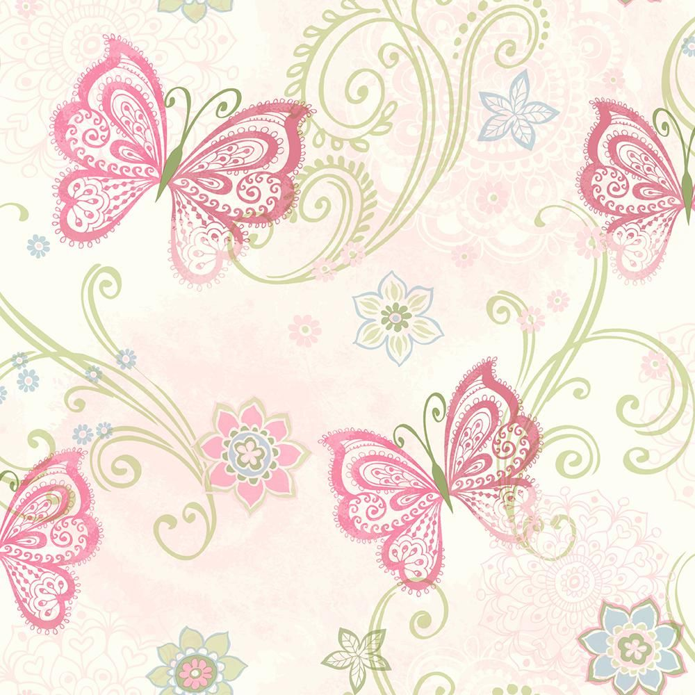 Chesapeake Fantasia Pink Boho Butterflies Scroll Wallpaper