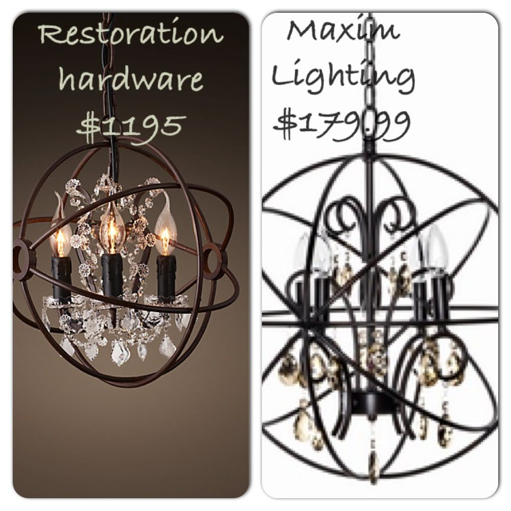 Restoration hardwares 3 light antique chandelier caged pendant vs restoration hardwares 3 light antique chandelier caged pendant vs maxim lightings 4 light chandelier caged arubaitofo Gallery