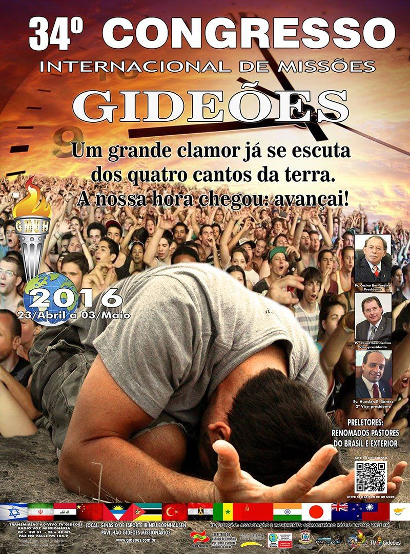 Cartaz do 34º Congresso Internacional de Missões dos Gideões Missionários da Última Hora de 2016