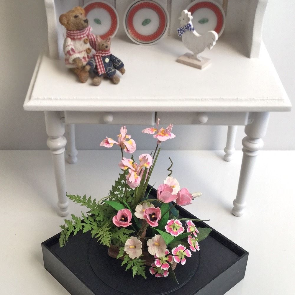 Pink Tulips Flower Arrangement by Paula Gilhooley Flowers Dollhouse Miniature