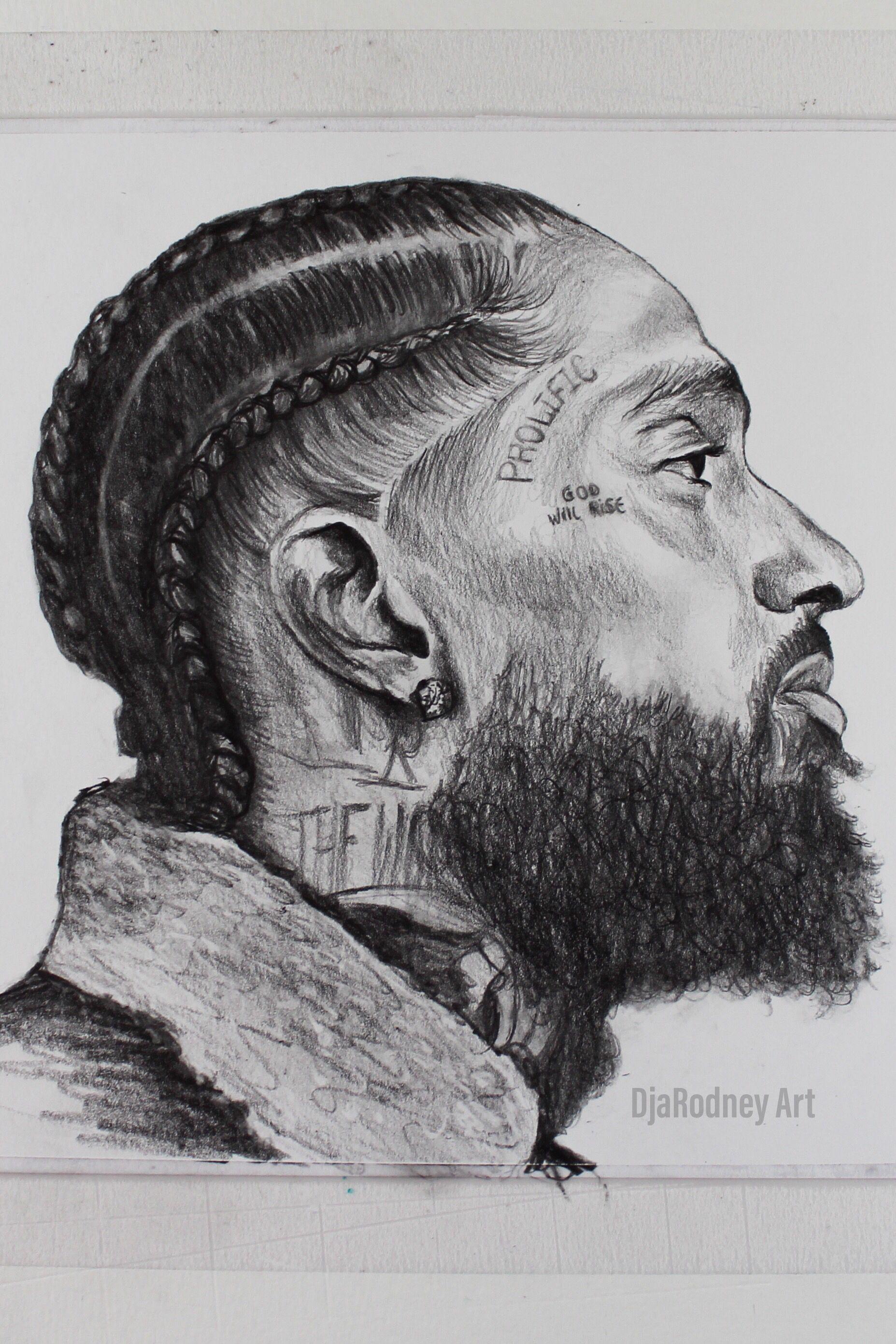 Nipsey hussle Portrait Drawing | Black Art in 2019 | Design art