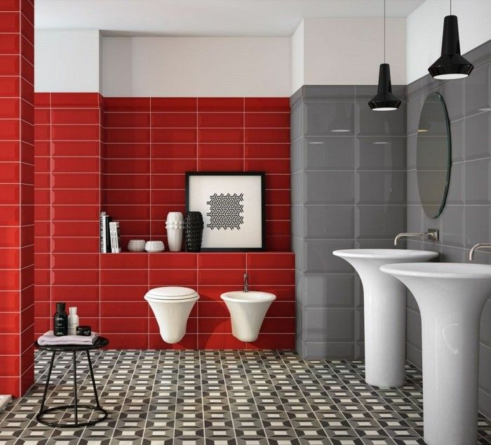 rote und graue metro fliesen kombinieren Badezimmer - Waschbecken