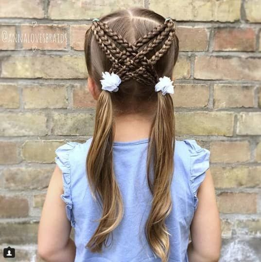 Centre Parted Hairstyle With Cross Braids At The Back