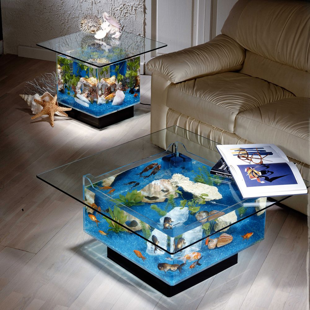 Captivating Square Aquarium End Table By Midwest Tropical Inc.