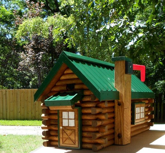 Rustic Log Cabin Mailbox Handcrafted Log Home Mailbox Green Metal Roof  Design Fits Standard Mailbox Post