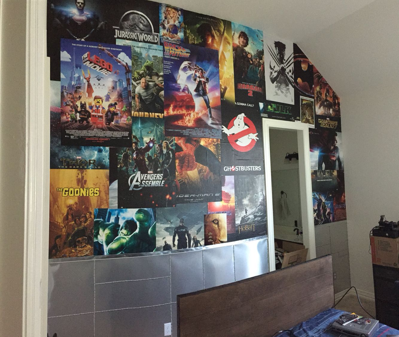 This Clients Son Wanted A Movie Themed Main Wall In His Bedroom That Reminded Him Of The New York City Subway With Overlapping Wall Treatments Half Walls Wall