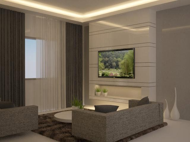 Feature wall behind tv with sunken shelf living room Living room feature wallpaper ideas