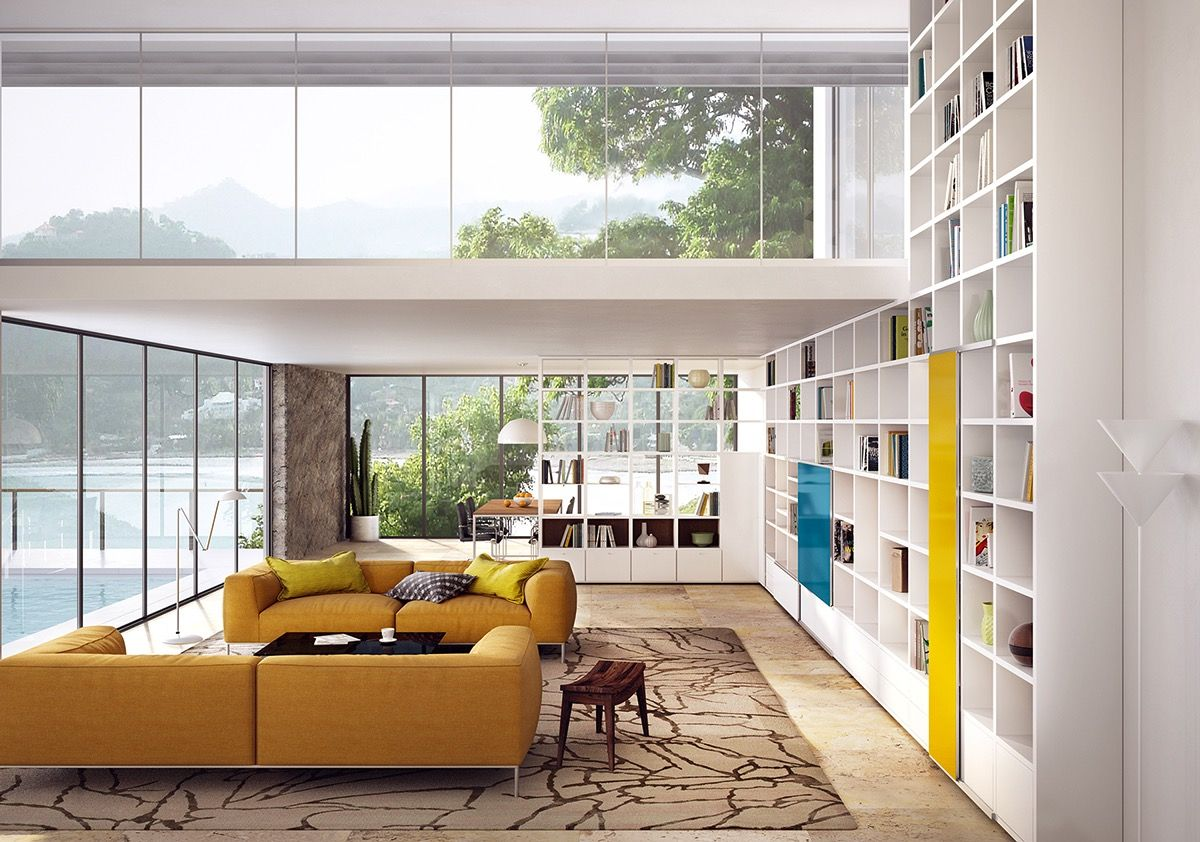 Living Room:Beautiful Modern Living Room Usa With White Tall Wooden ...