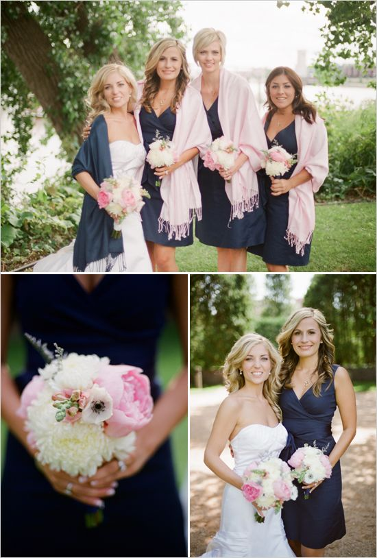 Preppy Wedding Navy Bridesmaids Dresses So Pretty Also Love The Pink Scarves